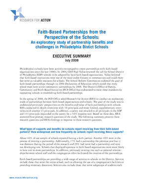 Faith-Based Partnerships from the Perspective of the Schools: An exploratory study of partnership benefits and challenges in Philadelphia District Schools - Executive Summary