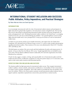 International Student Inclusion and Success: Public Attitudes, Policy Imperatives, and Practical Strategies